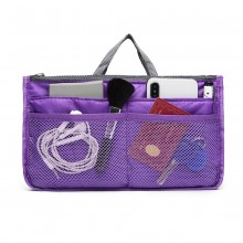 E6876 - Miss Lulu Folding Nylon Handbag Organiser - Purple