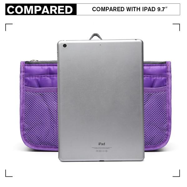 E6876 - Miss Lulu Folding Nylon Handbag Organiser - Purple