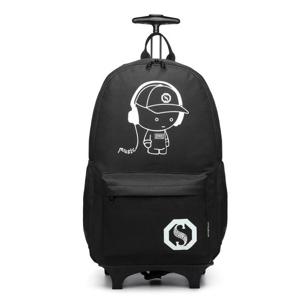 E6877 - Kono Multi Functional Glow in the Dark Backpack Trolley - Black
