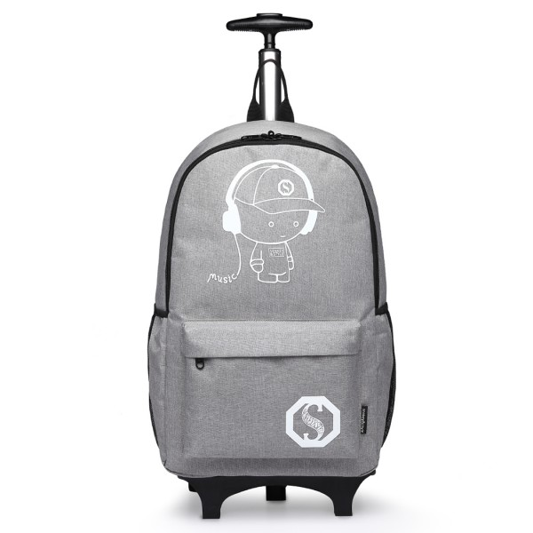 E6877 - Kono Multi Functional Glow in the Dark Backpack Trolley - Grey