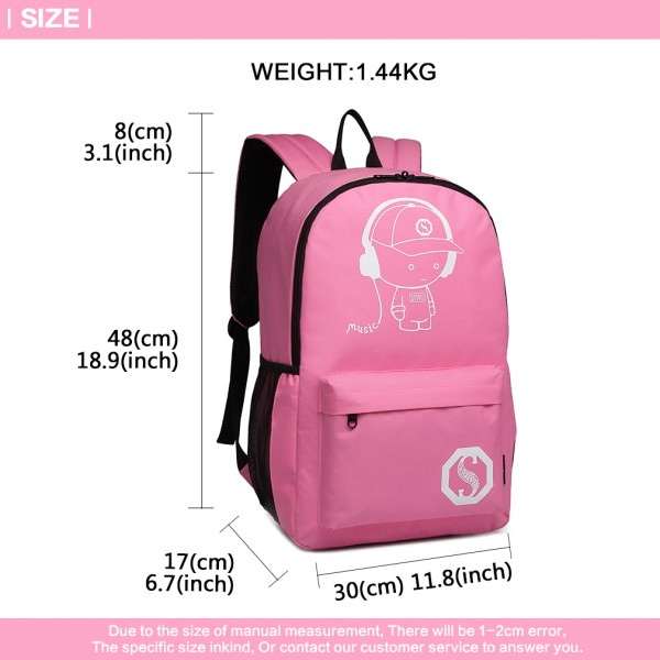 E6877 - Kono Multi Functional Glow in the Dark Backpack Trolley - Pink