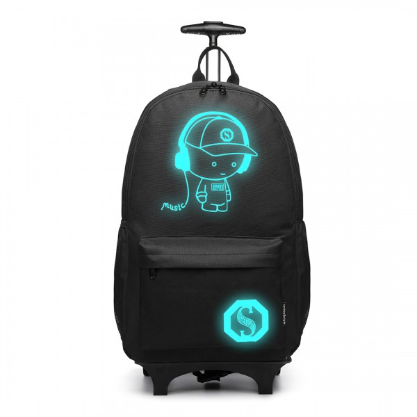 E6877 - Kono Multi Functional Glow in the Dark Backpack Trolley - Black