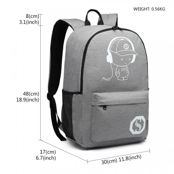 E6878 - KONO GLOW IN THE DARK WATERPROOF BACKPACK GREY