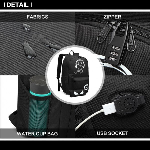 E6879 - KONO GLOW IN THE DARK WATERPROOF USB CHARGING BACKPACK AND PENCIL CASE BLACK