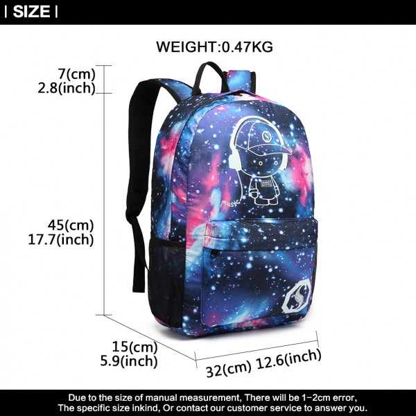 E6880 - KONO GALAXY GLOW IN THE DARK BACKPACK BLUE