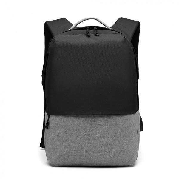 E6891 - Kono Waterproof Basic Backpack with USB Charging Port - Black