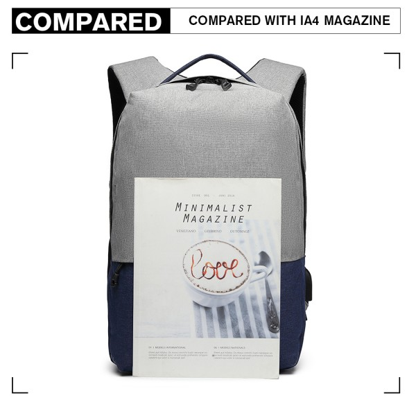 E6891 - Kono Waterproof Basic Backpack with USB Charging Port - Grey/Blue