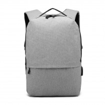E6891 - Kono Waterproof Basic Backpack with USB Charging Port - Grey