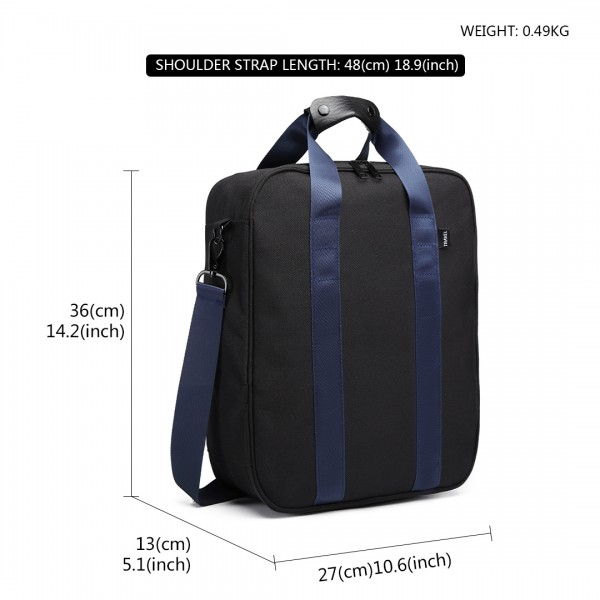 E6892 - Kono Cotton Travel Shoulder Bag Hand Luggage - Black