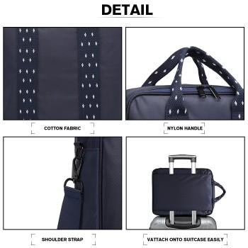 E6892-COTTON HANDBAG SHOULDER BAG PORTABLE TRAVEL BAG NAVY