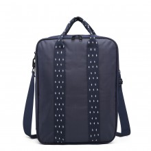 E6892-COTTON HANDBAG SHOULDER BAG PORTABLE TRAVEL BAG NAVY