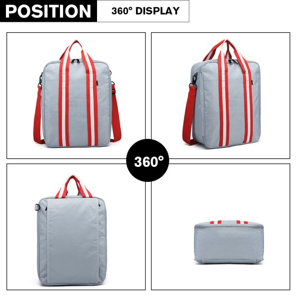E6892 - Kono Cotton Travel Shoulder Bag Hand Luggage - Silver
