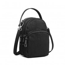 E6901 - Kono Compact Multi Compartment Cross Body Bag - Black
