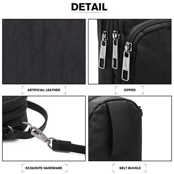 E6901 - Kono Compact Multi Compartment Cross Body Bag - Black