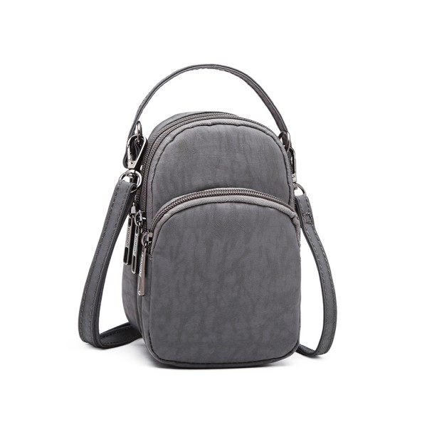 E6901 - Kono Compact Multi Compartment Cross Body Bag - Grey