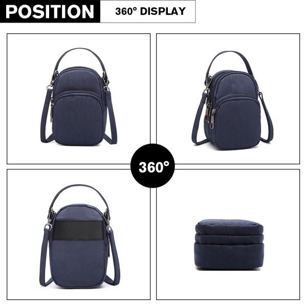 E6901 - Kono Compact Multi Compartment Cross Body Bag - Navy Blue