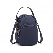 E6901 - Kono Compact Multi Compartment Cross Body Bag - Navy Blue
