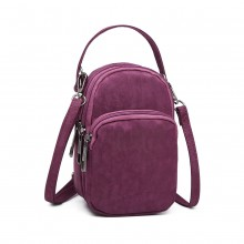 E6901 - Kono Compact Multi Compartment Cross Body Bag - Purple