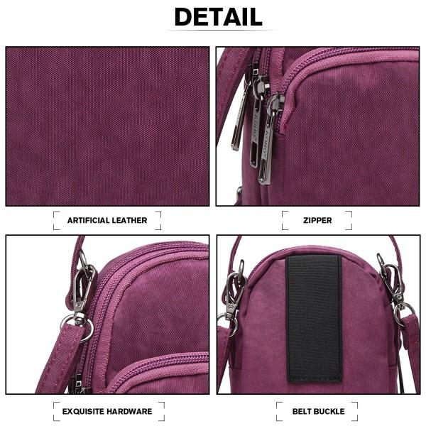 E6901 - Kono Compact Multi Compartment Cross Body Bag - Purple