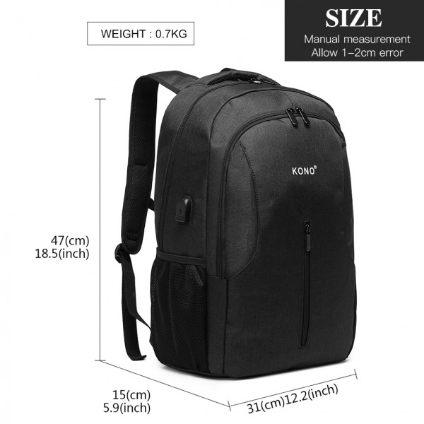 E6904 - Kono Large Backpack with USB Charging Interface - Black