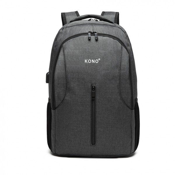 E6904 - Kono Large Backpack with USB Charging Interface - Grey