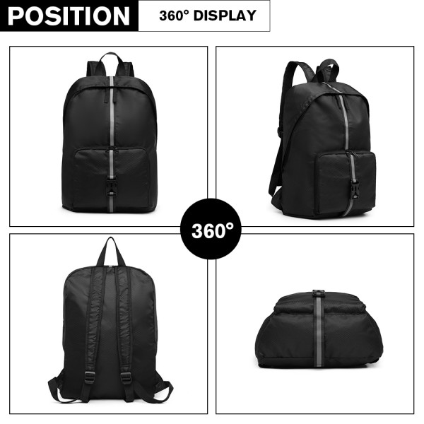 E6906 - Kono Lightweight Water Resistant Foldable Backpack - Black