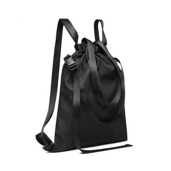 E6912 - Kono Nylon Multi Way Drawstring Backpack Shoulder Bag - Black