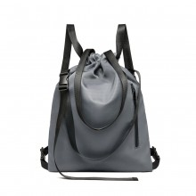 E6912 - Kono Nylon Multi Way Drawstring Backpack Shoulder Bag - Grey