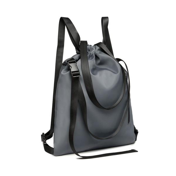 E6912 - Kono Nylon Multi Way Drawstring Backpack Shoulder Bag - Grey
