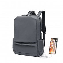 E6913 - Kono Water Resistant Travel Backpack with USB Charging Port - Grey