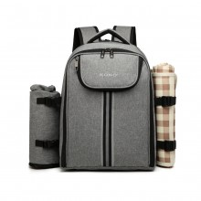 E6915 - Kono Canvas Picnic Backpack - Grey