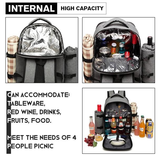 E6915 - Kono Canvas Picnic Backpack - Grey