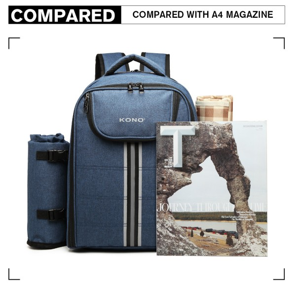 E6915 - Kono Canvas Picnic Backpack - Navy Blue