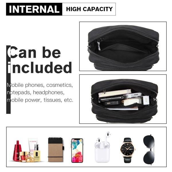 E6925 - Kono Multi Pocket Cross Body Shoulder Bag - Black