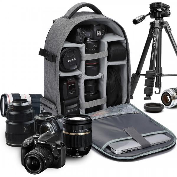 E6928 - Kono Water Resistant Shockproof DSLR Camera Backpack - Grey