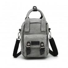 E6929 - Kono Mini Multi-Way Cross Body Bag/Backpack - Grey
