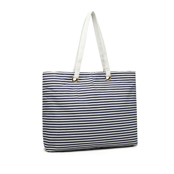 EB2002 - Kono Stripe Canvas Tote Bag - Navy Blue
