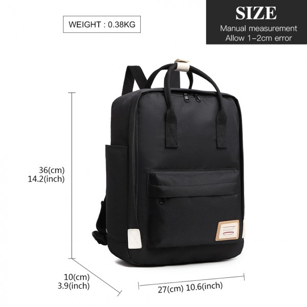 EB2017 - Kono Large Polyester Laptop Backpack - Black