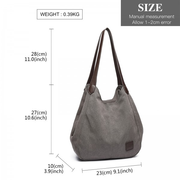 EB2040 - Kono Canvas Shoulder Tote Bag - Grey