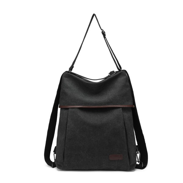 EB2041 - Kono Two Way Canvas Shoulder Bag Backpack - Black