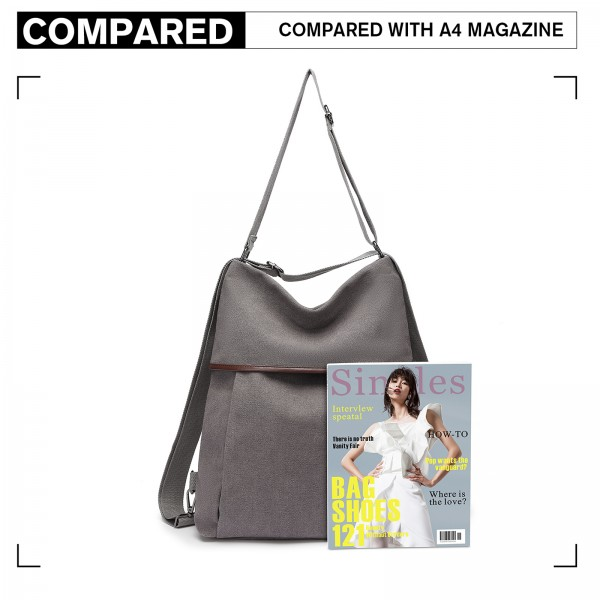 EB2041 - Kono Two Way Canvas Shoulder Bag Backpack - Grey