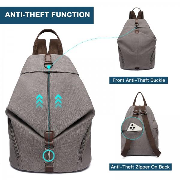 EB2044 - Kono Fashion Anti-Theft Canvas Backpack - Grey