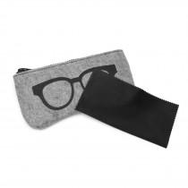 EB2065 - Etui na okulary z miękkiego filcu - szary i Czarny