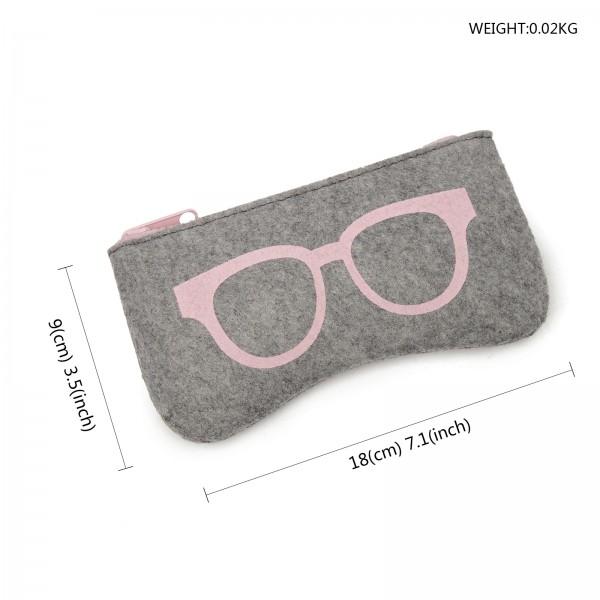 EB2065 - Soft Felt Glasses Case - Grey And Pink