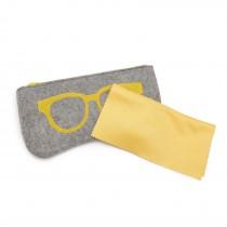 EB2065 - Etui na okulary z miękkiego filcu - szary i żółty
