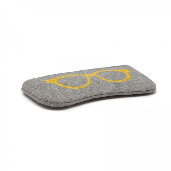 EB2065 - Soft Felt Glasses Case - Grey And Yellow