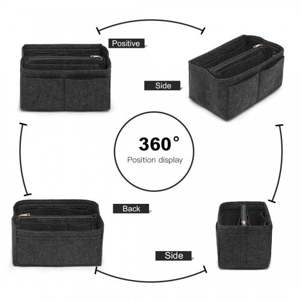 EB6932 - Kono Multi Compartment Handbag Organiser - Dark Grey