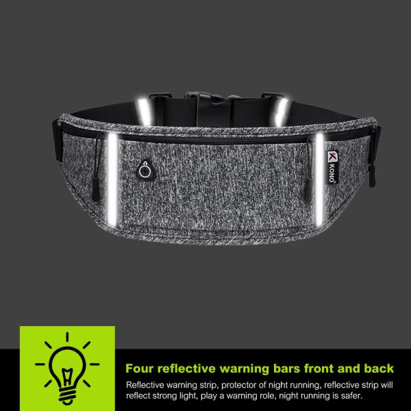EQ2025 - Kono Slimline Sports Work Out Bum Bag - Black
