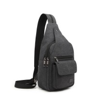 EQ2028 - Kono Casual Canvas Single Strap Sling Backpack - Black