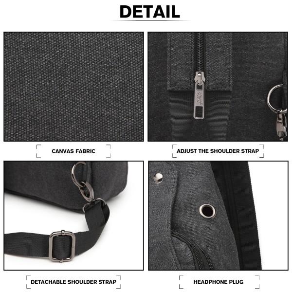 EQ2028 - Kono Casual Canvas Single Strap Sling Backpack - Black